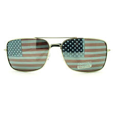 Patriotic USA American Flag Inprint Narrow Aviator Sunglasses