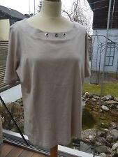 Betty Barclay T-Shirt Rundhals Kurzarm beige Baumwolle 3 Silberösen Gr.46