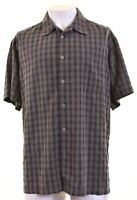 COLUMBIA Mens Shirt Short Sleeve 2XL Grey Check Modal  DX13
