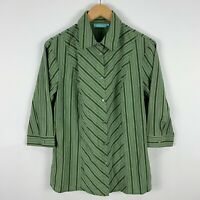 Blue Illusion Blouse Top Womens Medium Green Striped 3/4 Sleeve Collared