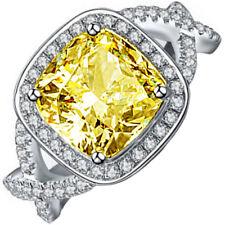 GIA Fancy Yellow Diamond Engagement Ring Platinum Vintage Design 3.50CT Cushion