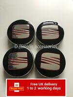4pcs 54mm SEAT RED BLACK SILVER ALLOY WHEEL CENTRE HUB CAPS - FITS: IBIZA LEON