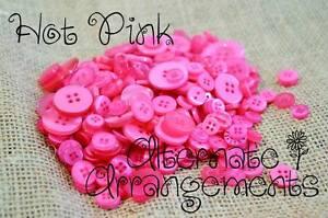 HOT PINK - Mixed Bulk Buttons 250+ Craft Scrapbooking Bouquet Mixed Colours