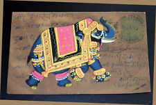 Antique Old Vintage mailing Postcard India with  elephant miniature painting