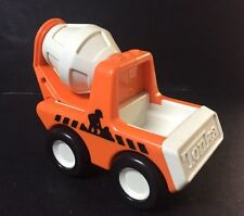 Vtg 1987 Tonka Bandai Cement Mixer Truck Orange Plastic Rattle Chunky Square