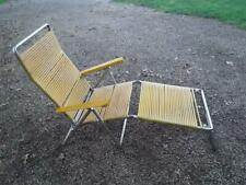 Vintage yellow folding plastic tube lawn beach chair pool chaise lounge w/arms