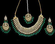Indian Kundan Choker Emerald Necklace Earrings Tikka Fashion Jewelry Pearls Set