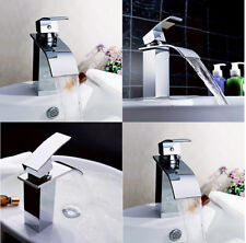 1PC Chrome Waterfall Bathroom Basin Faucet Sink Mixer Tap Single Handle Bathroom