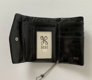 NWT HOBO International Lacy Leather Wallet Black RP $68 Small Compact Roomy