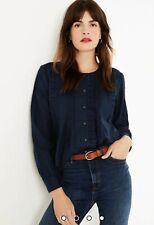 Bnwt M&S Navy Pure Cotton Size 10 Pintuck Blouse Shirt Rrp£29.50