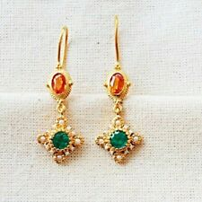 Tempting Emerald, Pearl & Sapphire Vermeil 14k Gold Over Sterling Silver Earring