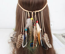 Boho Indian Peacock Black Dot Brown Stripe Feather Hairdress Weave Headpieces UK