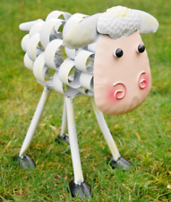 CRAZY FUN METAL WHITE & PINK SHEEP LAMB WOBBLY HEAD GARDEN ORNAMENT STATUE