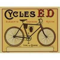 Cycles ED Cycling Poster Vintage Bicycling Art Poster