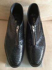Mens Designer Stephane Kelian Damo Weaved Black Leather Zip Boots Vintage Rare
