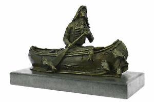 Native American Chief Embark in Canoe Bronze Sculpture Statue Figurine Art Decor