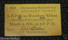 1931 Long Beach Poly vs LB Wilson High School Basketball Championship TICKET