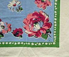Vintage 50s Cotton Tablecloth Floral Border Print Aqua Pink Paris Mid Century