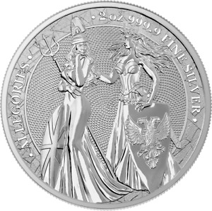 Germania Britannia 2019 10 Mark The Allegories 2 Oz 999 Silver Coin