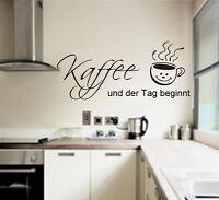 Wandtattoo Küche Kaffee und der Tag beginnt Wandspruch Sticker Aufkleber Spruch