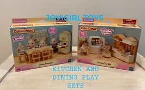 CALICO CRITTERS KITCHEN PLAY SET & DINING ROOM SET NEW 2 BOX SET NEW