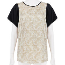 Thomas Wylde Caramel White Black Skull Patterned Silk Satin Top S UK8