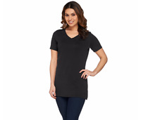 Isaac Mizrahi Live! Essentials V-Neck Tunic w/ Side Slits Cherrywood L A272505