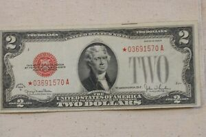 1928G US $2 DOLLARS RED SEAL STAR NOTE.