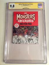 CGC 9.8 SS Monsters Unleashed! Sketch Pad #1 signed by R.L. Stine Man-Thing