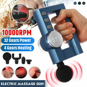 32 Gears Fascia Electric Muscle Massager Gun Massage Heating Relax 10000RPM AU