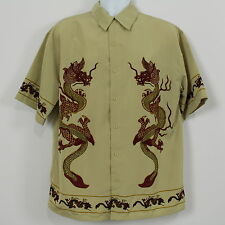 City Impact Double Red Dragons Chinese Rockabilly Camp Shirt Mens Size M