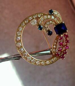 5.25 Ct Emerald Cut Sapphire Ruby & Diamond Pin Brooch 14K Yellow Gold Finish