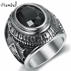 MENDEL Mens Satanic Illuminati Masonic Black Onyx Ring Stainless Steel Size 7-14