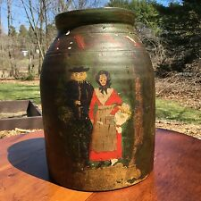 Rare Antique Folk Art Hand-Painted Large Stoneware Crock, Man and Woman
