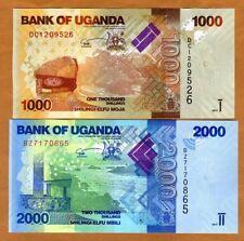 SET Uganda, 1000;2000 Shillings, 2017, P-49d-50d, New Signature, UNC