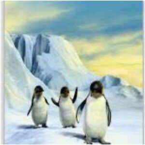 Penguins Print Bed Throw 3D Fluffy Blanket Super Quality King Size 200x240 cm