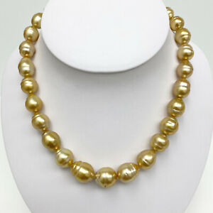 """Golden SouthSea Pearl Necklace Loose Strand Circled-Baroque 10mm-14mm 17"""""""