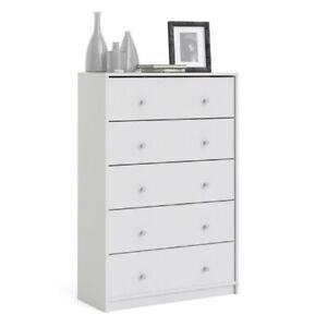 Matt White 5 Drawer Bedroom Chest Drawers. Modern European Design. 108cm Tall.