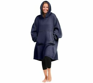 The Comfy Hoodie Oversized Knit Sweatshirt Navy Blue, One Size, H222597
