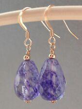 Beautiful Amethyst Quartz Teardrop Gemstones 14ct Rolled Gold Drop Earrings