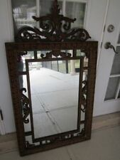 Antique French Decorative Wall Mirror Beveled Metal Frame