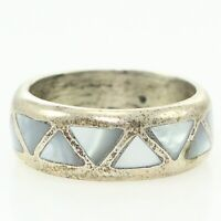 NOS Vintage Southwestern Sterling Silver Gray Mother Pearl Wedding BAND RING 7
