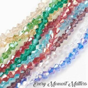 100 x CRYSTAL GLASS AB BICONES BEADS BICONE BEADS AB 4mm Various Colours