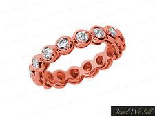 0.85Ct Round Diamond Gallery Wedding Eternity Band Ring 14k Rose Gold I SI Bezel