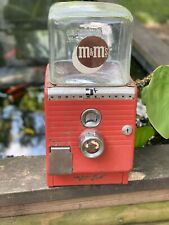 Vintage Northwestern Gumball M&M Machine 5 Cent Working NO KEY Embossed Glass