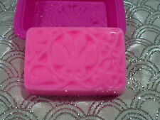 "Candle melts -SOAP- making mould large ""Rectangle"" mould, with flower print."