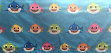 "Baby Shark DooDooDoo polyester blue fabric 19""x66"" material fish New Strip w/hem"