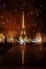 8x10ft Vinyl Paris Eiffel Tower Night Fountain Photo Studio Backdrop Background
