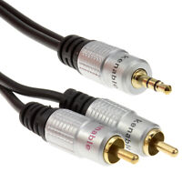3m Pro Audio Metal 3.5mm Stereo Jack to 2 RCA Phono Plugs Cable Gold [Black]