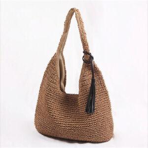 All-match Hobo Bag Style One-shoulder Handbag Summer Large Straw Beach Bags